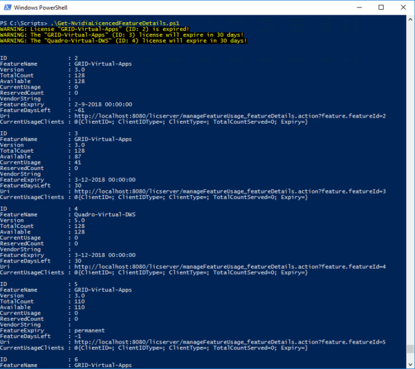 View NVIDIA GRID license details via PowerShell | John Billekens